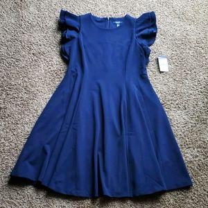 NWT Chaps navy blue ruffle sleeve zipper dress